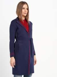 Red - Navy Blue - Unlined - Shawl Collar - Acrylic -  - Jacket