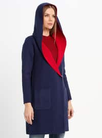 Red - Navy Blue - Unlined - Acrylic -  - Jacket