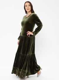 Olive Green - Unlined - Crew neck - Muslim Plus Size Evening Dress