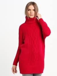 Red - Polo neck - Acrylic -  - Tunic