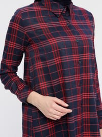 Red - Navy Blue - Plaid - Point Collar - Tunic