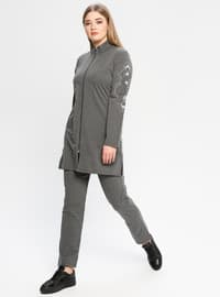 Gray - Anthracite - Polo neck - Tracksuit Set