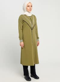 Olive Green - Unlined - Crew neck - Topcoat