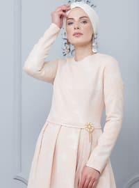 Dusty Rose - Half Lined - Crew neck - Muslim Evening Dress