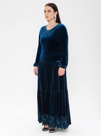 Petrol - Unlined - Crew neck - Muslim Plus Size Evening Dress