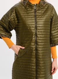 Green - Fully Lined - Crew neck - Jacket