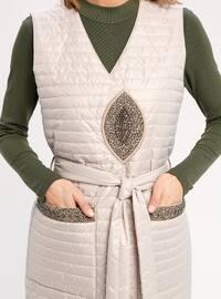 White - Ecru - Fully Lined - V neck Collar - Vest