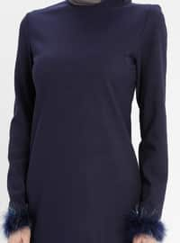 Navy Blue - Crew neck - Unlined - Dresses