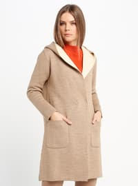 Beige - Cream - Unlined - Acrylic -  - Jacket