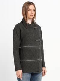 Gray - Unlined - Point Collar - Acrylic -  - Jacket