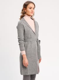 Pink - Gray - Unlined - Shawl Collar - Acrylic -  - Jacket