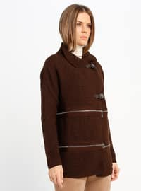 Brown - Unlined - Point Collar - Acrylic -  - Jacket