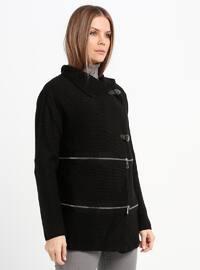 Black - Unlined - Point Collar - Acrylic -  - Jacket