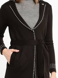 Black - Gray - Unlined - Shawl Collar - Acrylic -  - Jacket