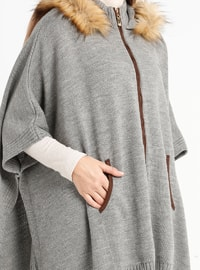 Gray - Polo neck - Acrylic -  - Cardigan