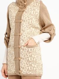 Beige - Multi - Polo neck - Acrylic -  - Cardigan