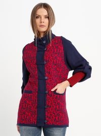 Navy Blue - Multi - Polo neck - Acrylic -  - Cardigan