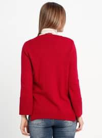 Red - V neck Collar - Acrylic -  - Jumper