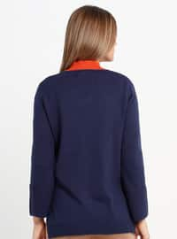 Navy Blue - V neck Collar - Acrylic -  - Jumper