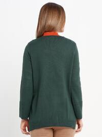Green - V neck Collar - Acrylic -  - Jumper