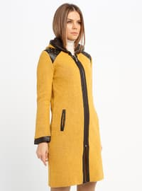 Brown - Mustard - Unlined - Wool Blend - Jacket