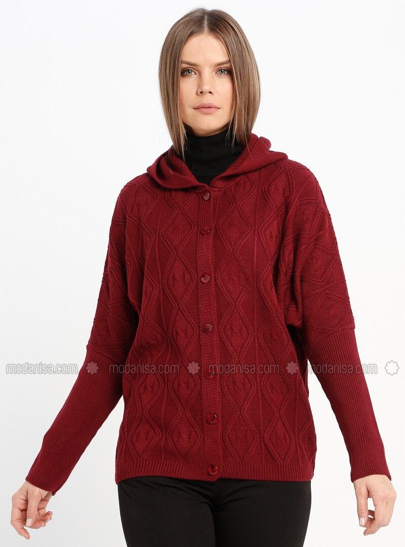 Maroon - Unlined - Acrylic -  - Jacket