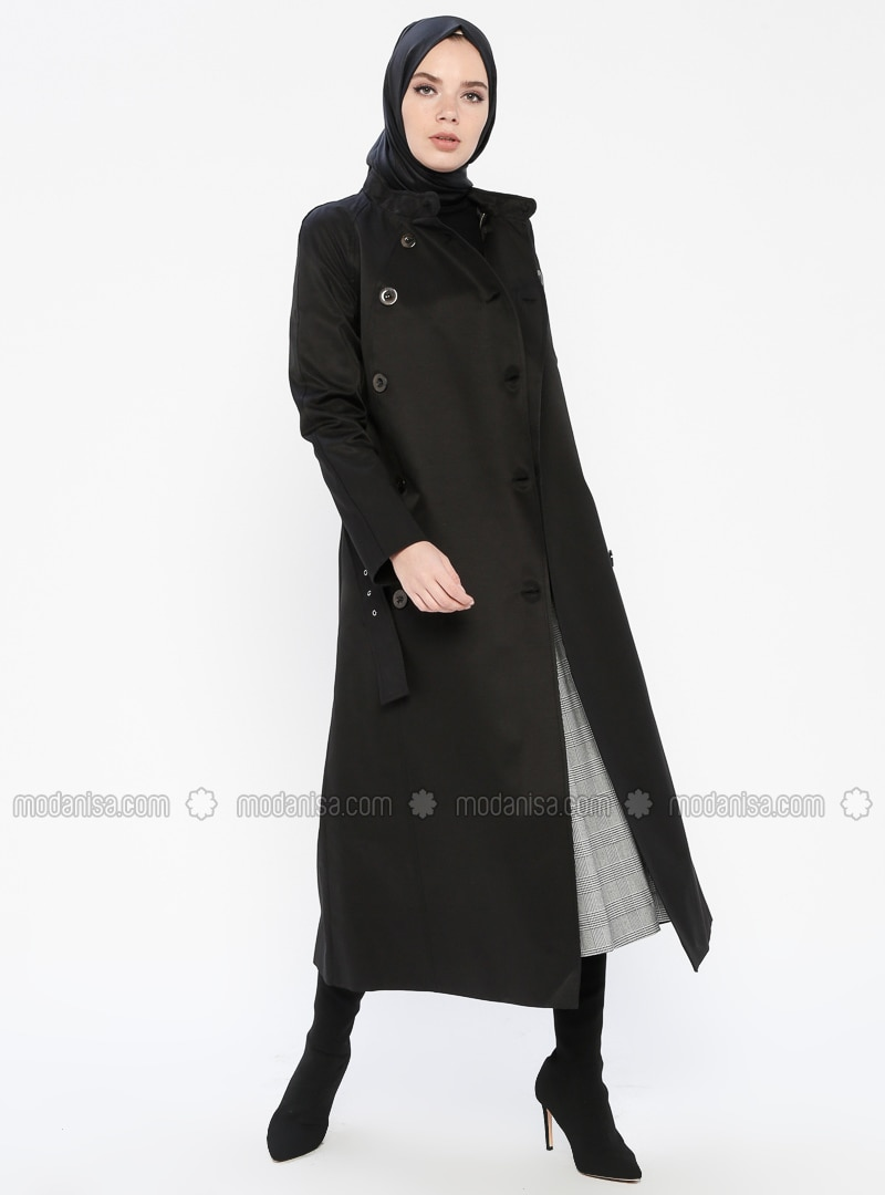 Black - Fully Lined - Button Collar - Topcoat