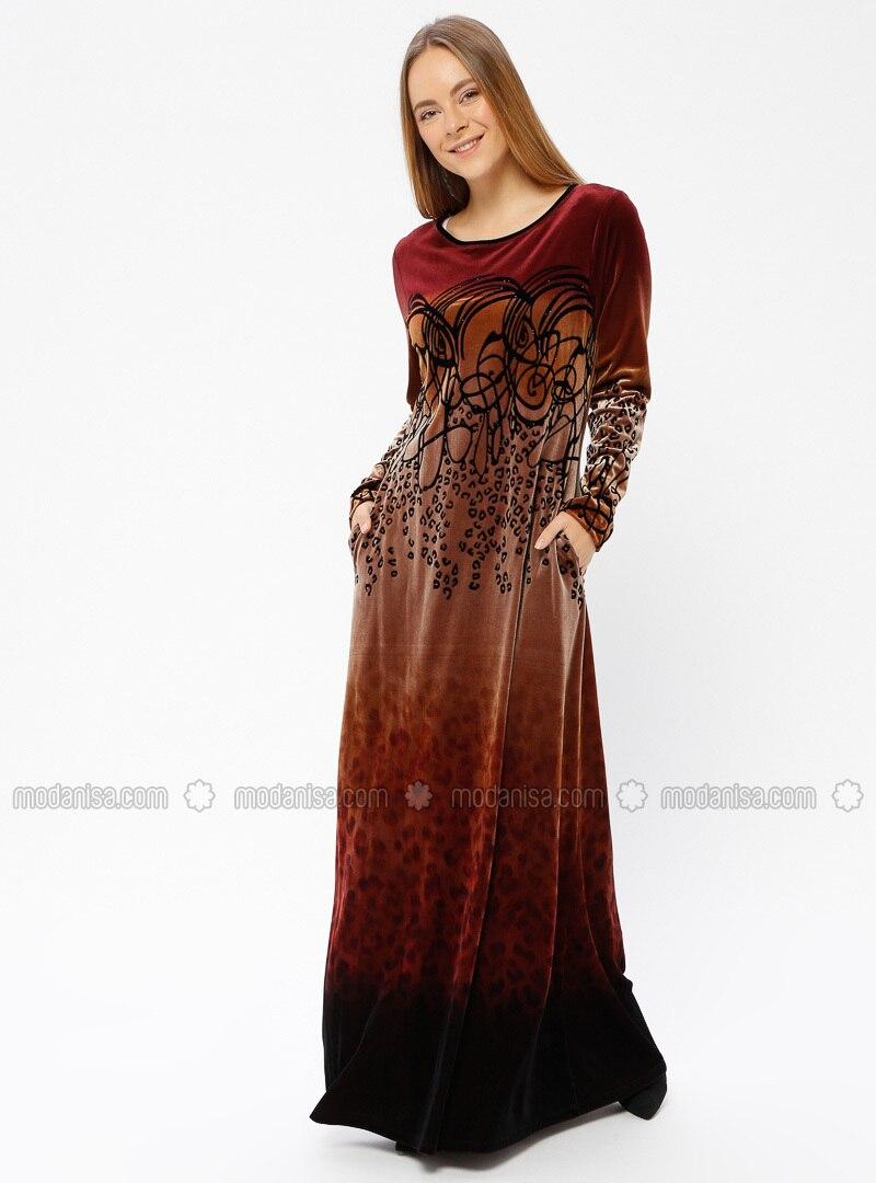 4cc28dab42 Maroon - Multi - Unlined - Crew neck - Muslim Evening Dress. Fotoğrafı  büyütmek için tıklayın