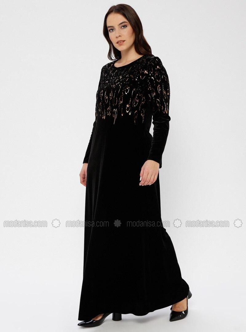 Black Unlined Crew Neck Muslim Plus Size Evening Dress