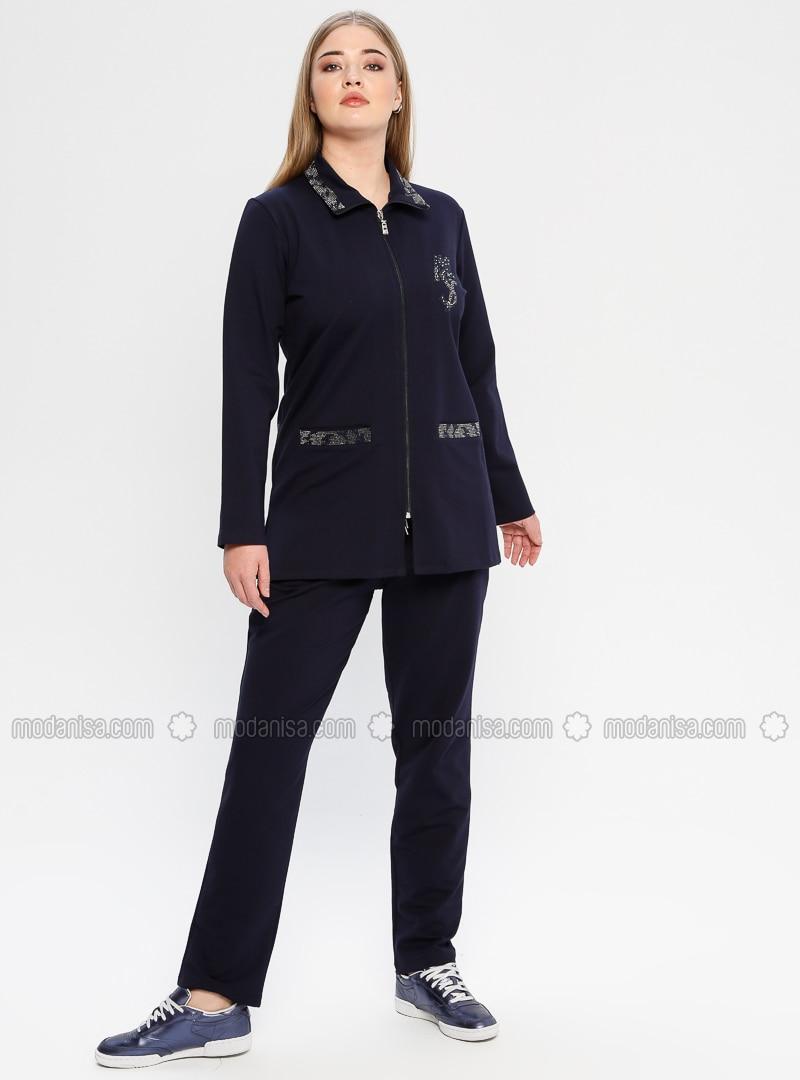 Navy Blue - Point Collar - Tracksuit Set