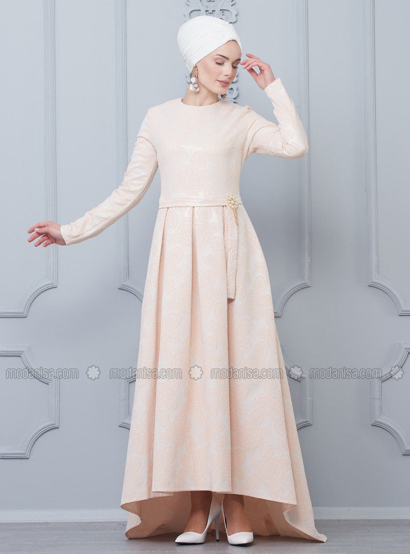 Dusty Rose - Half Lined - Crew neck - Muslim Evening Dress