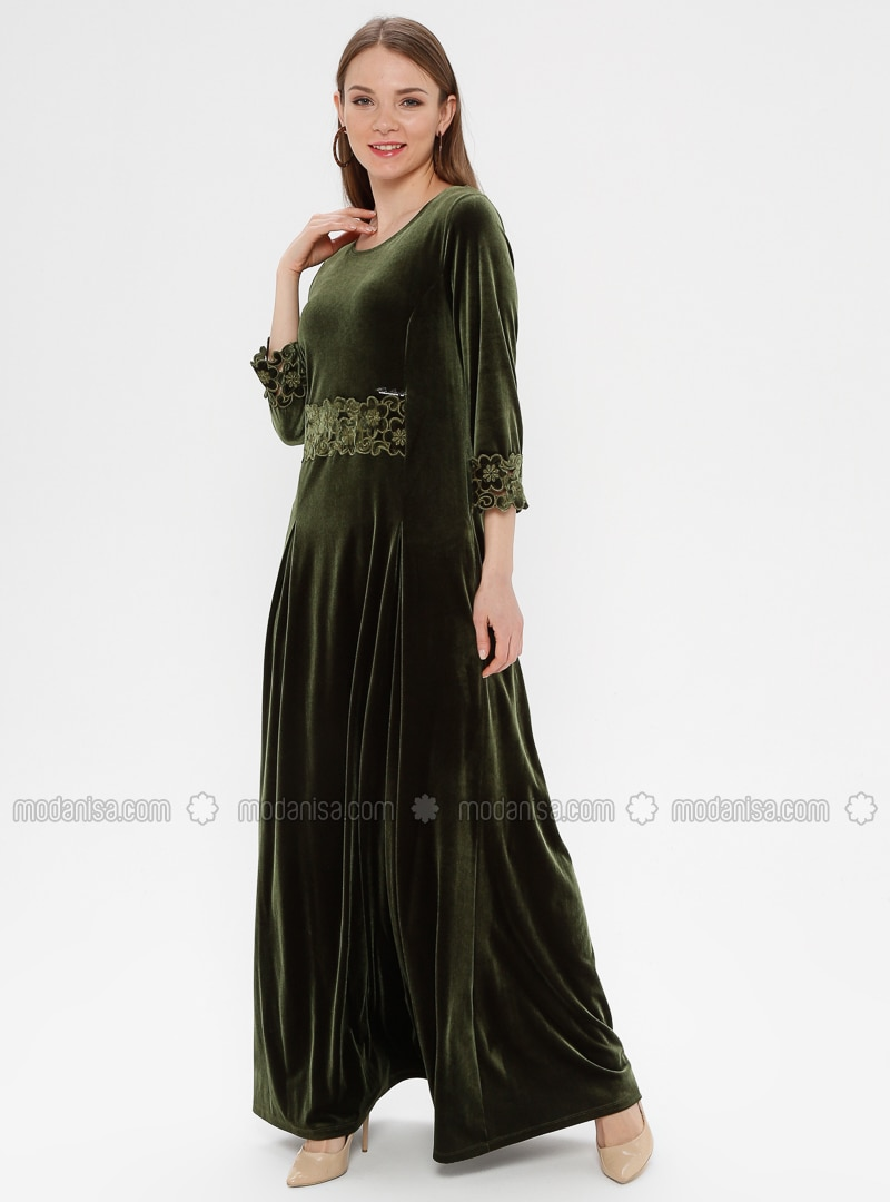 7c19446f098b2 Kadife Abiye Elbise - Yağ Yeşili