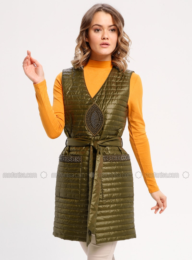 Green - Fully Lined - Crew neck - Vest