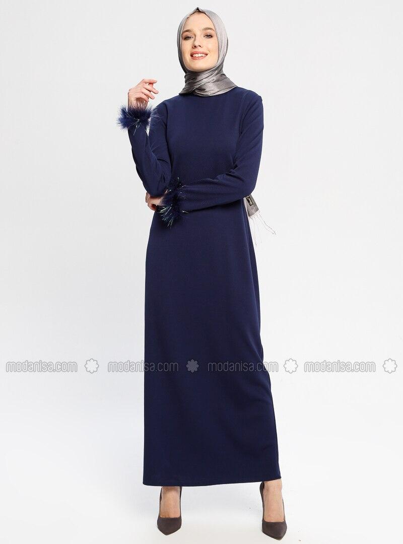 Navy Blue - Unlined - Crew neck - Dresses