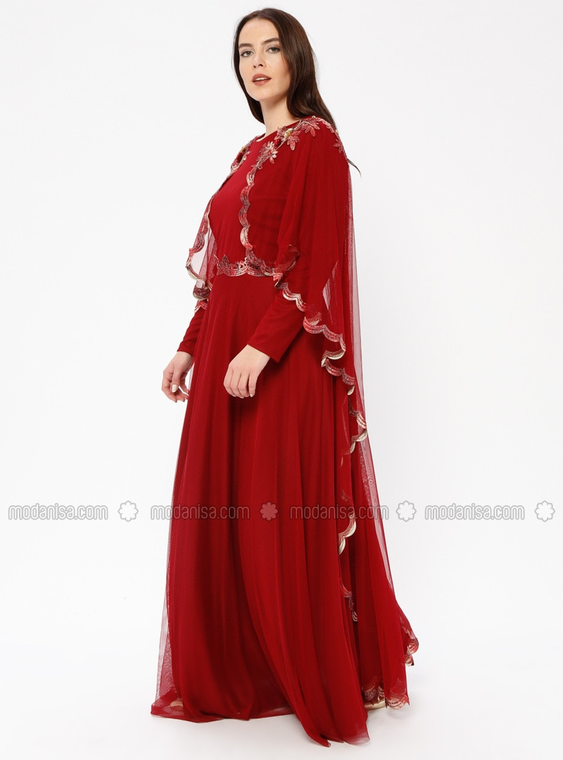 Red - Fully Lined - Crew neck - Muslim Plus Size Evening Dress