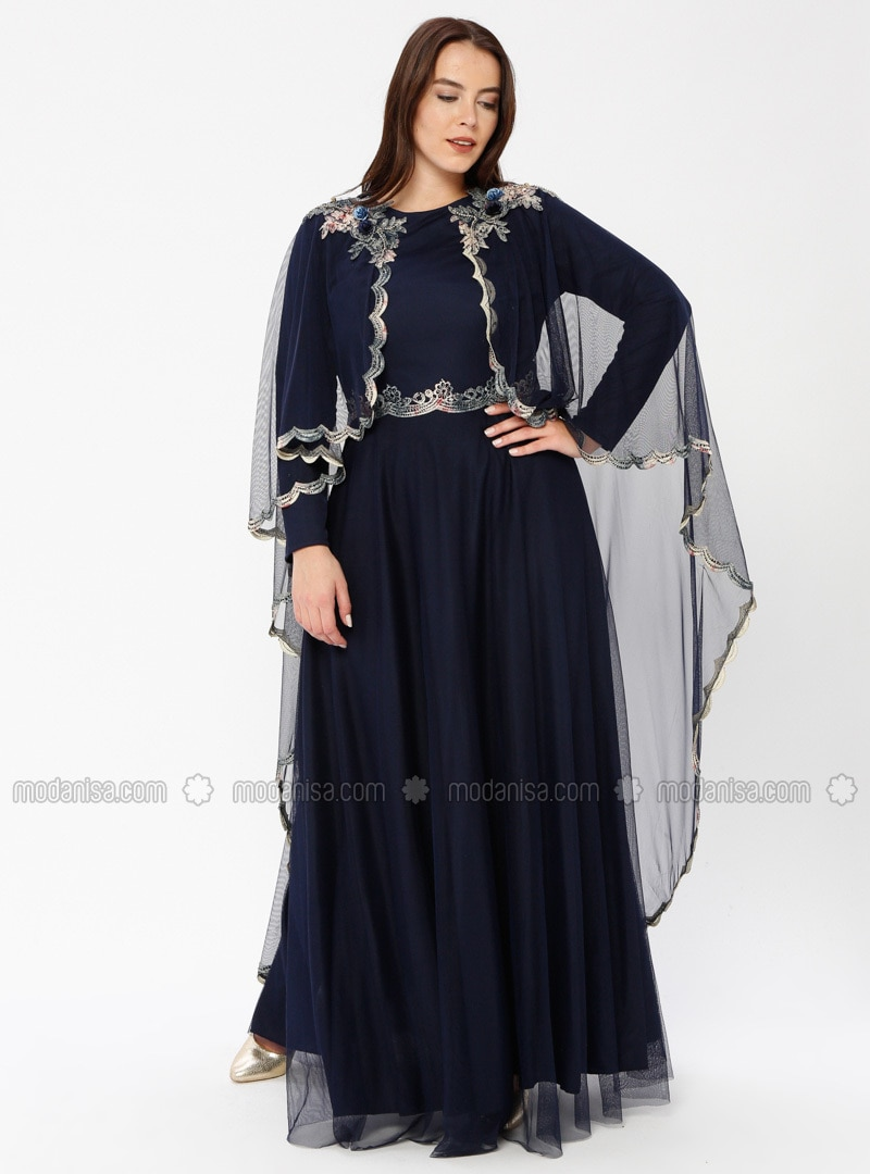 Navy Blue Fully Lined Crew neck Muslim Plus Size Evening Dress Le Mirage