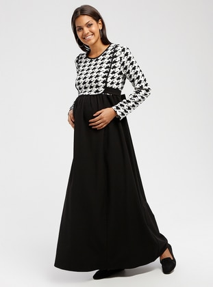 Black - Multi - Crew neck - Unlined - Maternity Dress