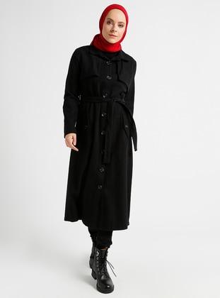 Black - Unlined - Point Collar - Coat