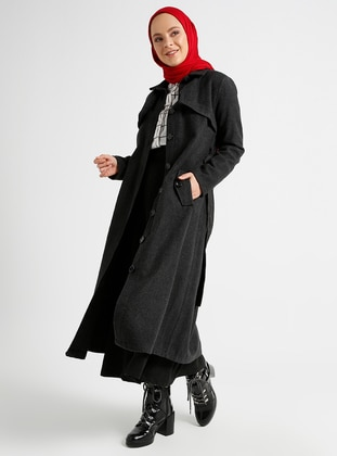 Anthracite - Unlined - Point Collar - Coat