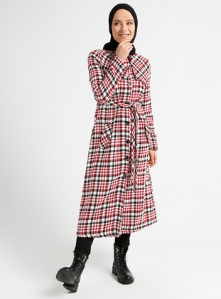 Red - Plaid - Unlined - Point Collar - Coat
