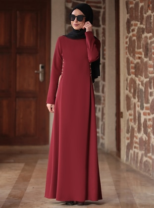 Maroon - Crew neck - Unlined - Crepe - Dress