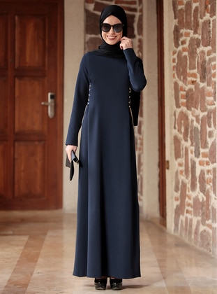 Navy Blue - Crew neck - Unlined - Crepe - Dresses - Rana Zenn