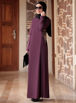 Plum - Crew neck - Unlined - Crepe - Dress - Rana Zenn