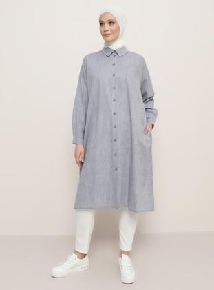 Navy Blue - Point Collar - Cotton - Tunic - Refka