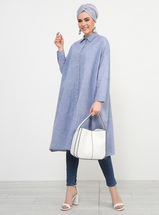 Navy Blue - Point Collar - Cotton - Tunic - Refka