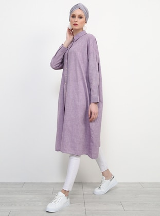 Purple - Point Collar - Cotton - Tunic - Refka
