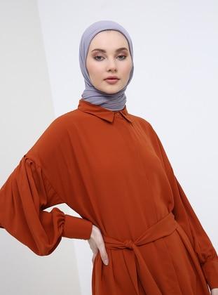 Tan - Point Collar - Cotton - Tunic