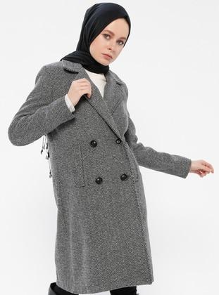 Gray - Fully Lined - Shawl Collar - Coat - Gzd