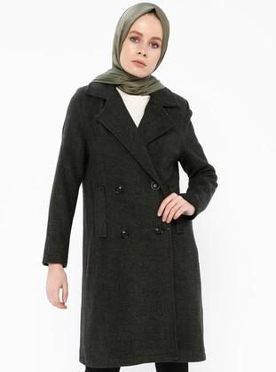 Khaki - Fully Lined - Shawl Collar - Coat - Gzd