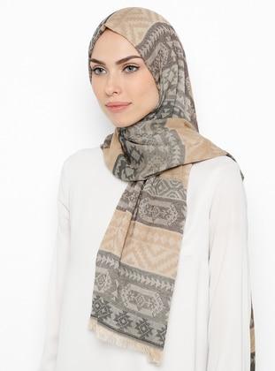 Brown - Camel - Ethnic - Shawl
